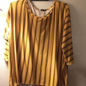 Yellow & black-n-white stripes shirt